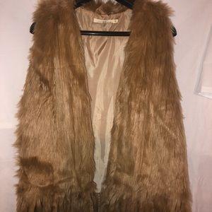 Camel color faux fur vest